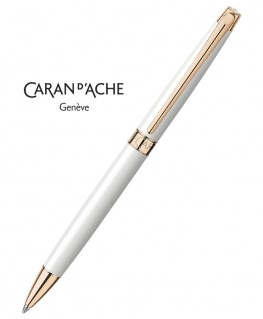 Stylo Bille Caran d'Ache Leman Slim Blanc Or Rose 4781.001