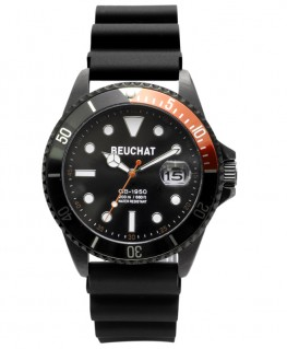 Montre Beuchat GB1950 Black 44mm Cadran Noir Lunette Noir/Orange BEU1950-74
