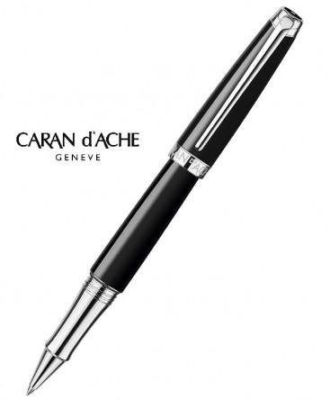 Stylo-Roller-Caran-D'ache-Léman-Ebony-Noir-Argent-Rhodié-réf_4779.782