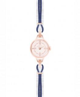 Mini-Montre Bijou SILA Doré Rose Bleu de Minuit
