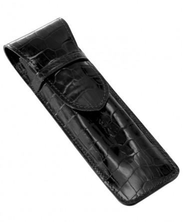 etui-stylo-mignon-2-places-veau-croco-savannah-noir-ref_950251M