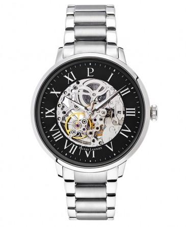 montre-pierre-lannier-automatique-cadran-noir-bracelet-acier-argente-ref_317B131