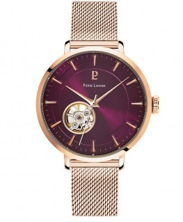 montre-pierre-lannier-automatic-cadran-framboise-bracelet-acier-milanais-dore-rose-ref_307F988