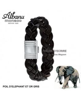Bracelet Albanu Poils d'Elephant Tressé Or Gris 13mm