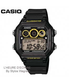 Montre Casio Collection Noire et Jaune AE-1300WH-1AVEF