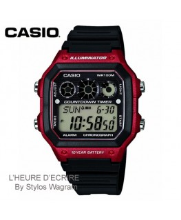 Montre Casio Collection Noire et Rouge AE-1300WH-4AVEF