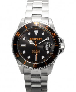 Montre Beuchat GB1950 44mm Cadran Noir Index Orange BEU1950-8