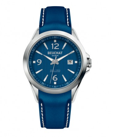 Montre Beuchat OCEA Deville Cadran et Cuir Bleu Réf_BEU0100/91
