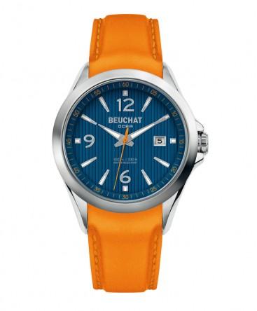 Montre Beuchat OCEA Deville Cadran et Cuir Orange Réf_BEU0100/92
