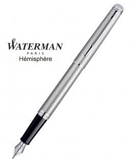 Stylo Plume Waterman Hémisphère Acier Satiné CT
