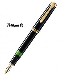 Stylo Plume Pelikan M400 Résine Noire Attributs Plaqué Or