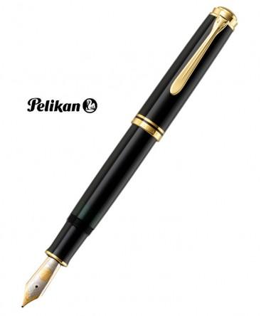 Stylo Plume Pelikan Souverain M800 Résine Noire et Plaqué Or Réf_986158