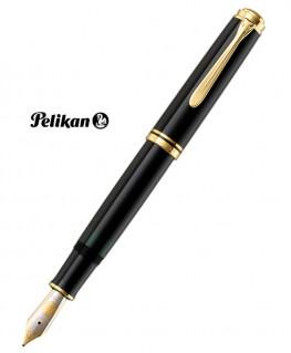 Stylo Plume Pelikan Souverain M1000 Résine Noire Attributs Plaqué Or