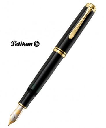 Stylo Plume Pelikan Souverain M1000 Résine Noire Plaqué Or Réf_987396