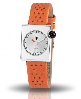 Montre LIP Mach 2000 Mini Square Cuir Orange réf 671180
